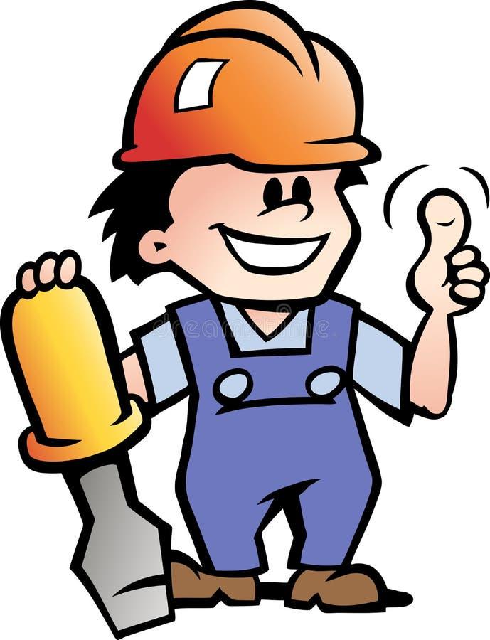Illustration eines glücklichen Mechanikers Handyman stock abbildung