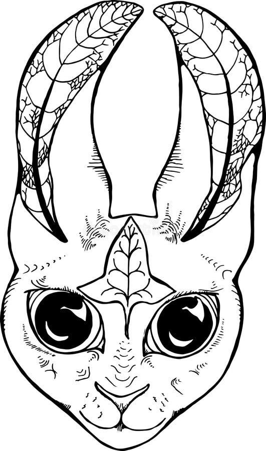 Illustration eines Hasen mit einem geometrischen Muster Tier mit einer Fractalverzierung vektor abbildung