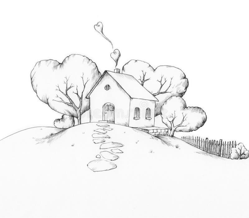 Illustration eines Hauses auf einem Hügel vektor abbildung