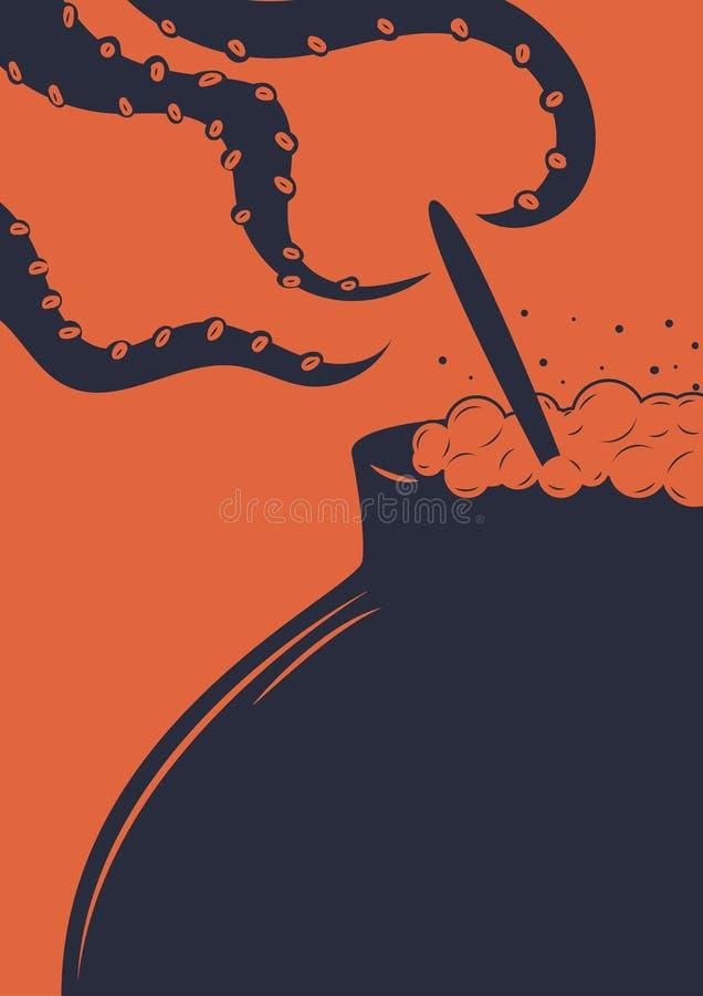Illustration eines Hexengroßen kessels Illustration eines Topfes und der Tentakeln vektor abbildung