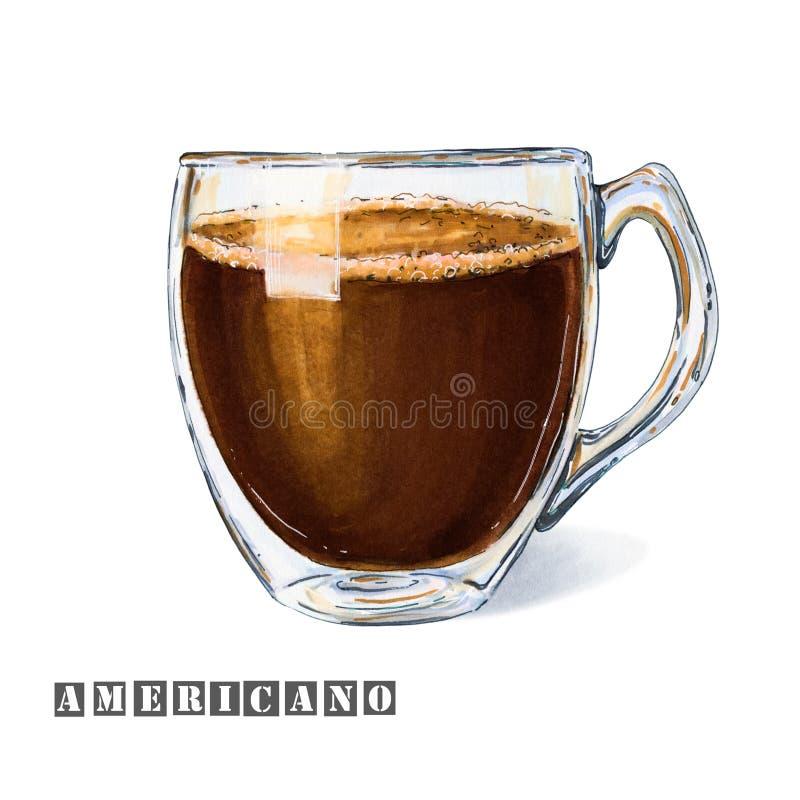 Illustration eines Kaffee armericano mit einem wenigen Schaum in einer Glasschale lizenzfreie abbildung