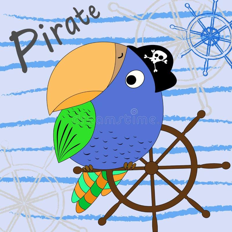 Illustration eines Karikaturpiratenpapageien mit einem Schiff ` s Rad Auch im corel abgehobenen Betrag Karikaturdruck stock abbildung