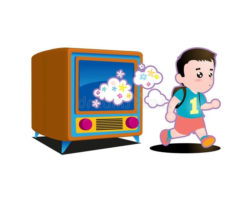 Illustration eines Kindes, das heraus von Fernsehen läuft lizenzfreie abbildung