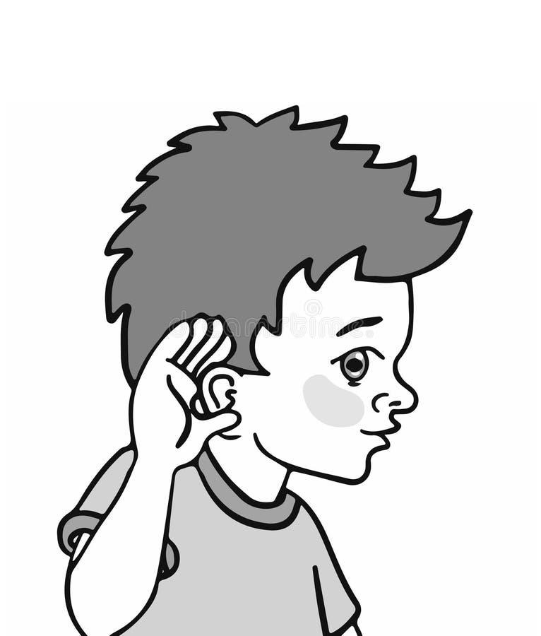 Illustration eines Kindes, das seinen Gehörsinn demonstriert stockfotos