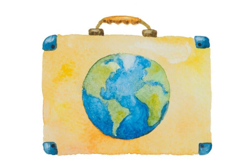 Illustration eines Koffers mit blauer Planetenerde für Reise auf einem weißen Hintergrund malte Aquarell lizenzfreies stockfoto