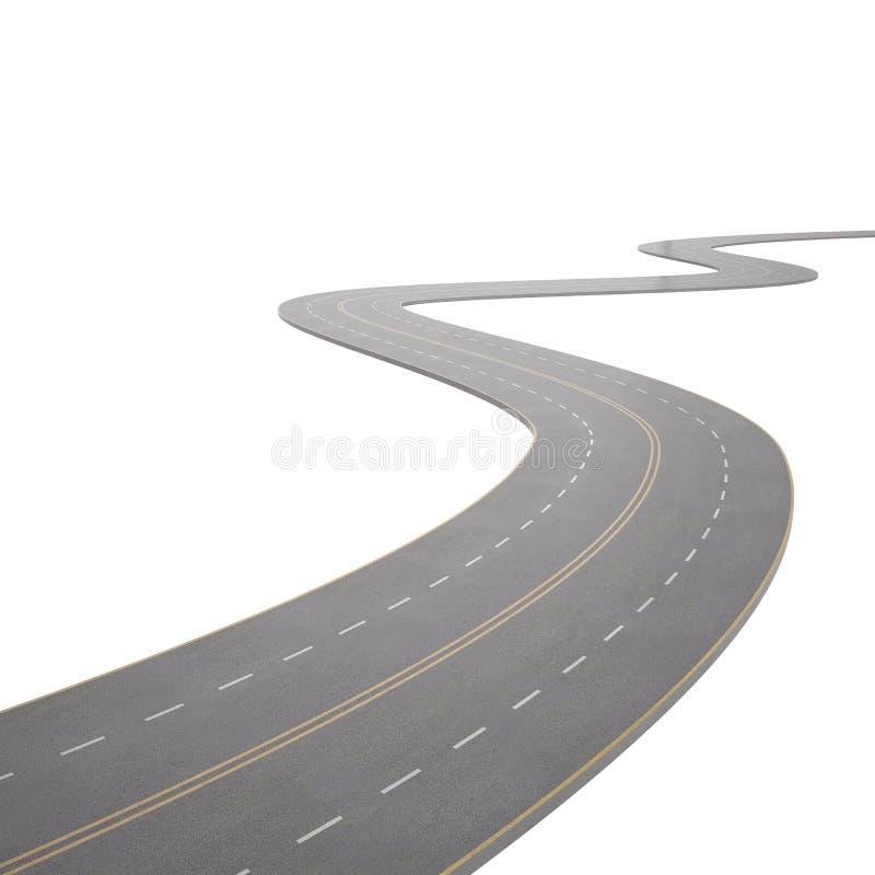 Illustration eines Kurvens, verbiegende Straße, lokalisiert stock abbildung
