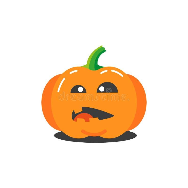 Illustration eines lustigen Kürbises der einfachen Karikatur für Halloween das in der Verwirrung lizenzfreie abbildung
