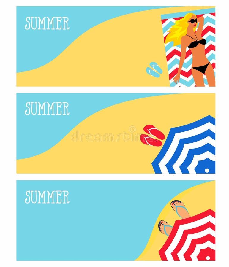 Illustration eines Mädchens auf dem Strand, Meer, Sonnenschirm stock abbildung