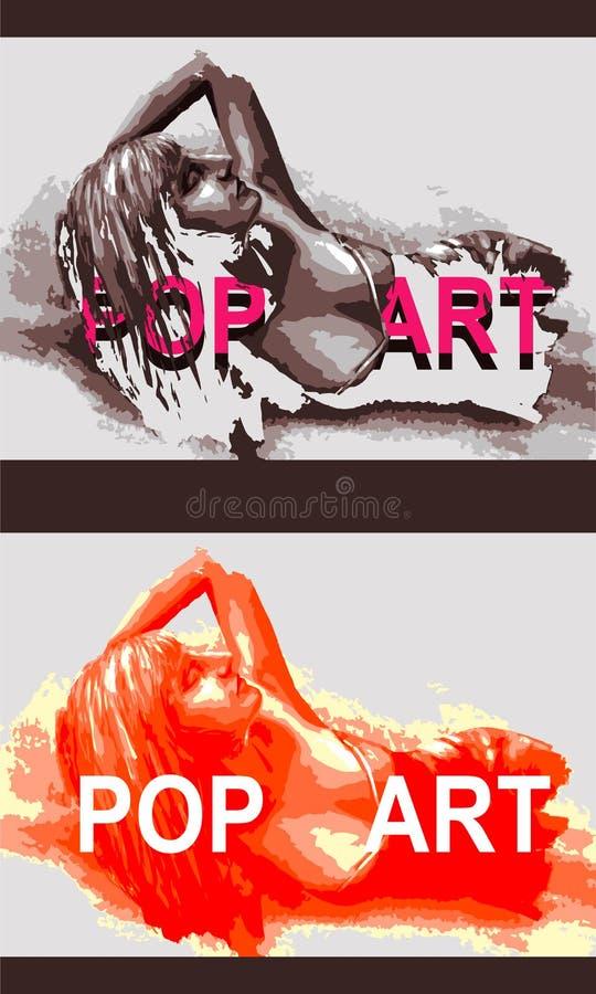 Illustration eines Mädchens im Stil der Pop-Art lizenzfreie stockfotos
