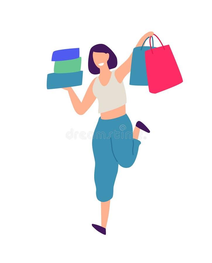 Illustration eines Mädchens mit dem Einkaufen Vektor Positive flache Illustration in der Karikaturart Rabatte und Verkäufe shopah vektor abbildung