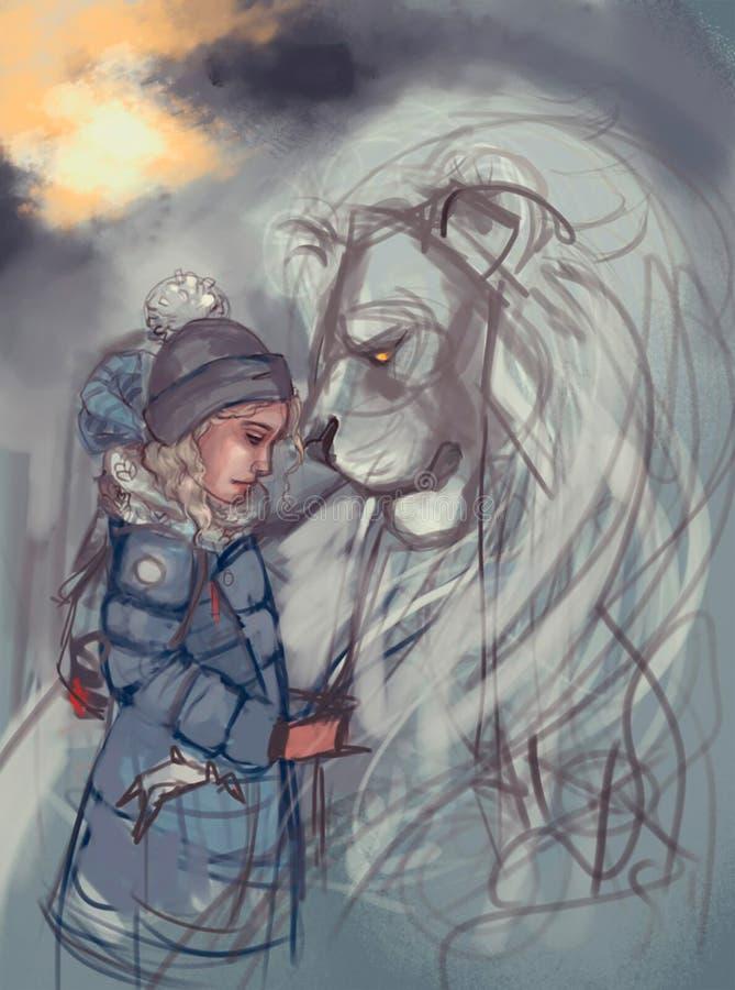 Illustration eines Mädchens und des Löwes lizenzfreie abbildung