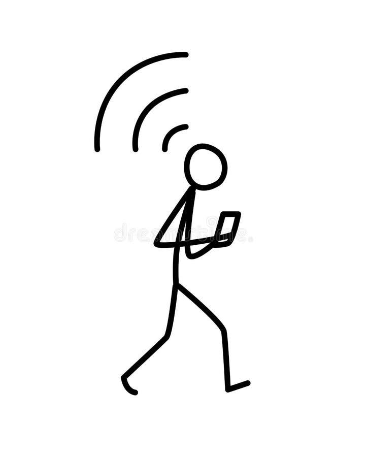 Illustration eines Mannes, der mit einem Telefon geht Vektor Verbindungswi-fi metapher lineare Art Illustration für Website oder  vektor abbildung