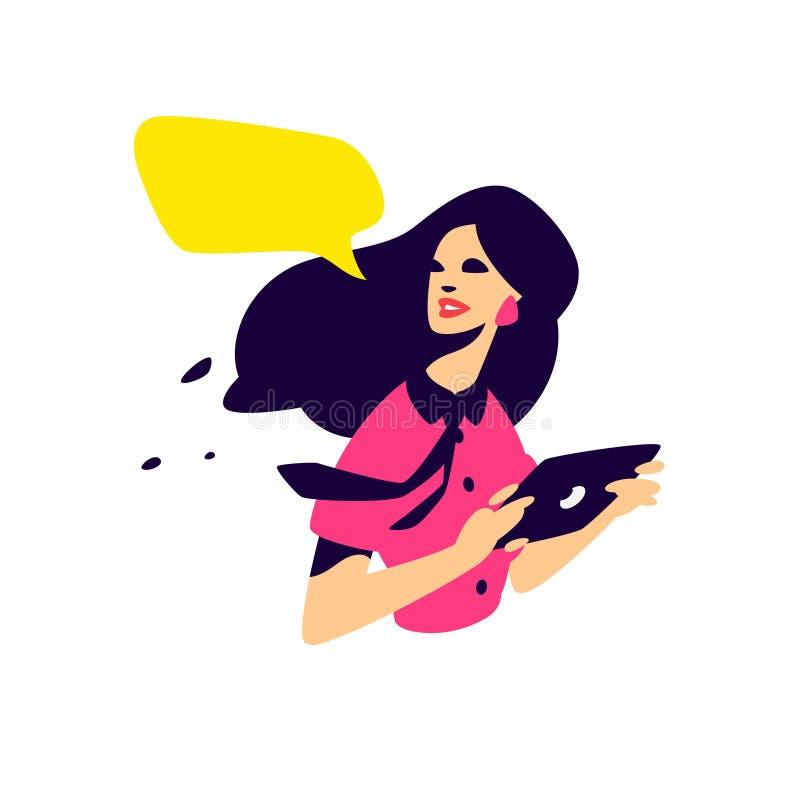 Illustration eines modernen Mädchens mit einer Tablette Flache Illustration des Vektors PR-Spezialist, Inserent Projektleiter zei lizenzfreie abbildung