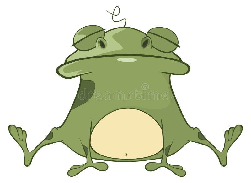 Illustration eines netten grünen Frosches Hundekopf mit einem netten glücklichen und unverschämten Lächeln getrennt auf einem wei vektor abbildung