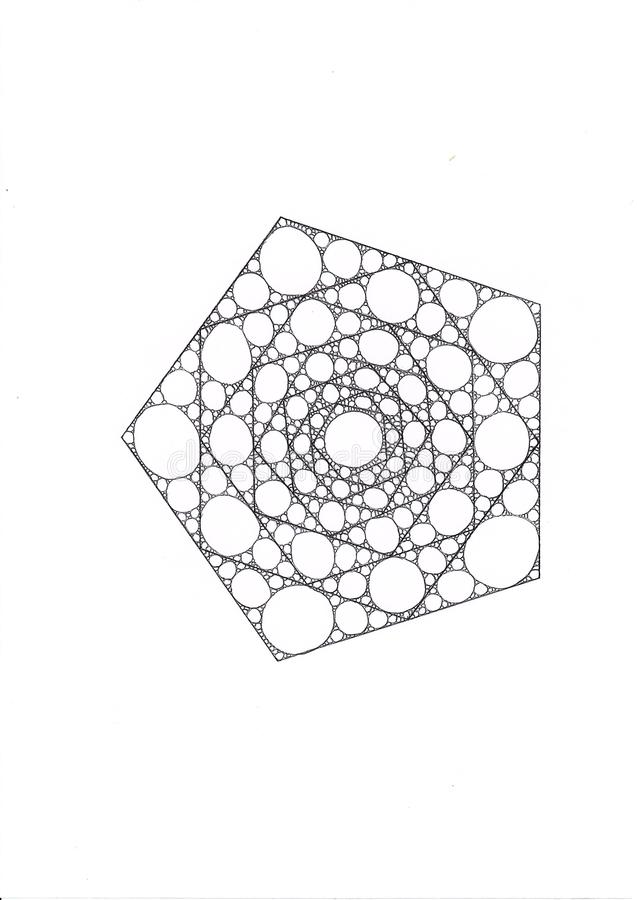 Illustration eines Pentagons, das von den kleineren Pentagonen gemacht wurde, füllte mit Ellipsen und Kreisen stockfotografie