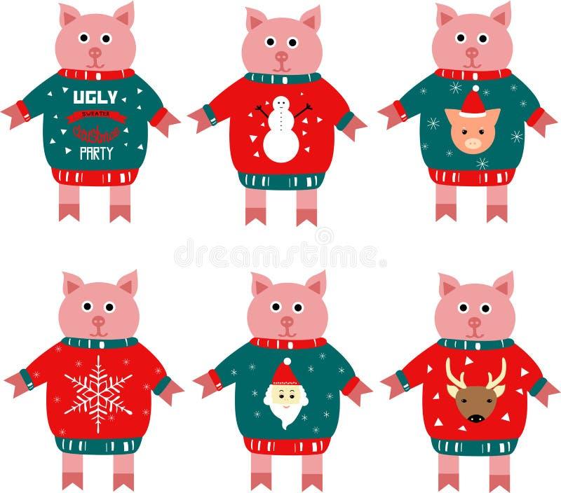 Illustration eines piggy Symbols des neuen Jahres in einer Strickjacke lizenzfreie abbildung