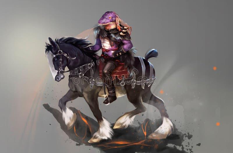 Illustration eines Reiters auf einer Rappe lizenzfreie abbildung