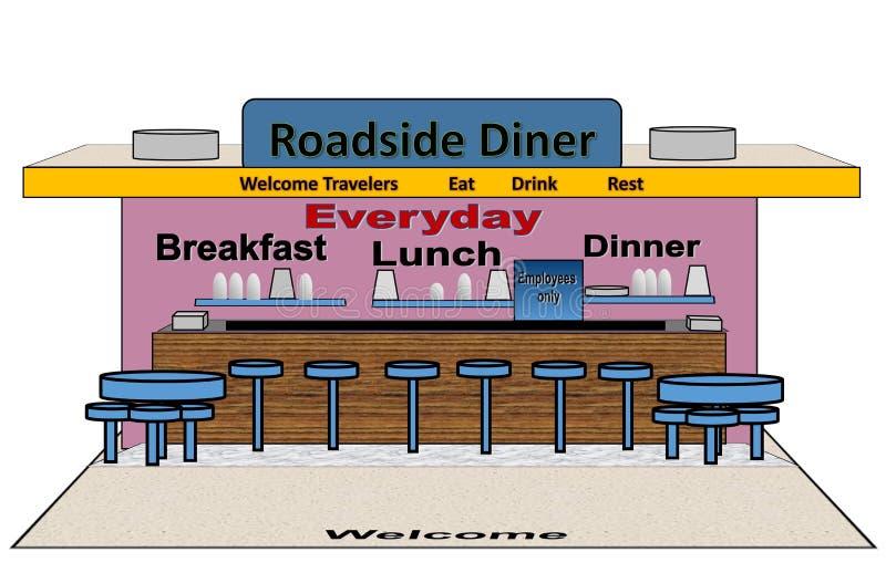 Illustration eines Straßenrand-Restaurants stock abbildung