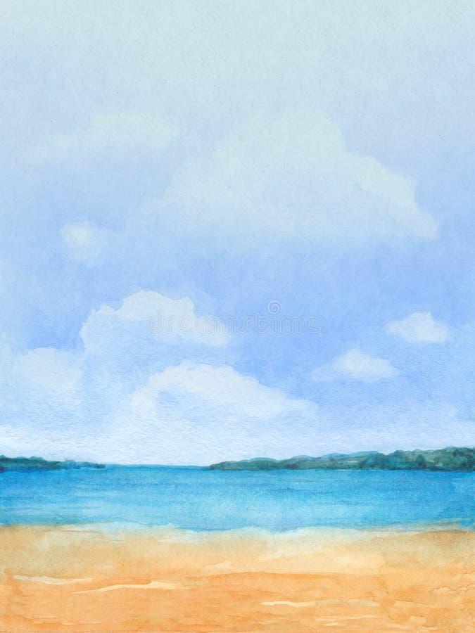 Illustration eines tropischen Strandes lizenzfreies stockfoto