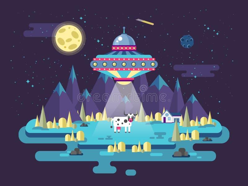 Illustration eines UFO der fliegenden Untertasse, das Kuh in der flachen Art stiehlt lizenzfreie abbildung