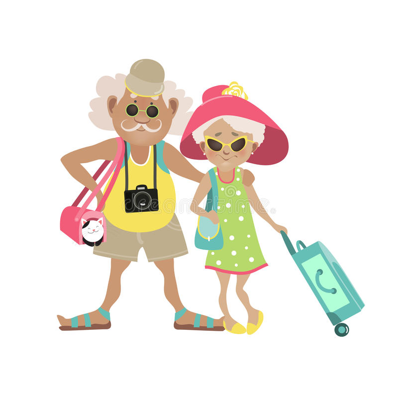 Illustration of an Elderly Couple Traveling. Together with Luggage in Tow. Vector illustration vector illustration