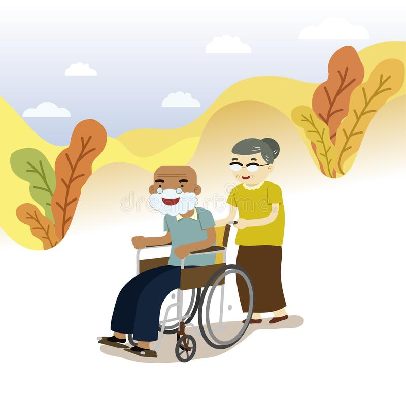 Old Couple on wheelchair royalty free illustration