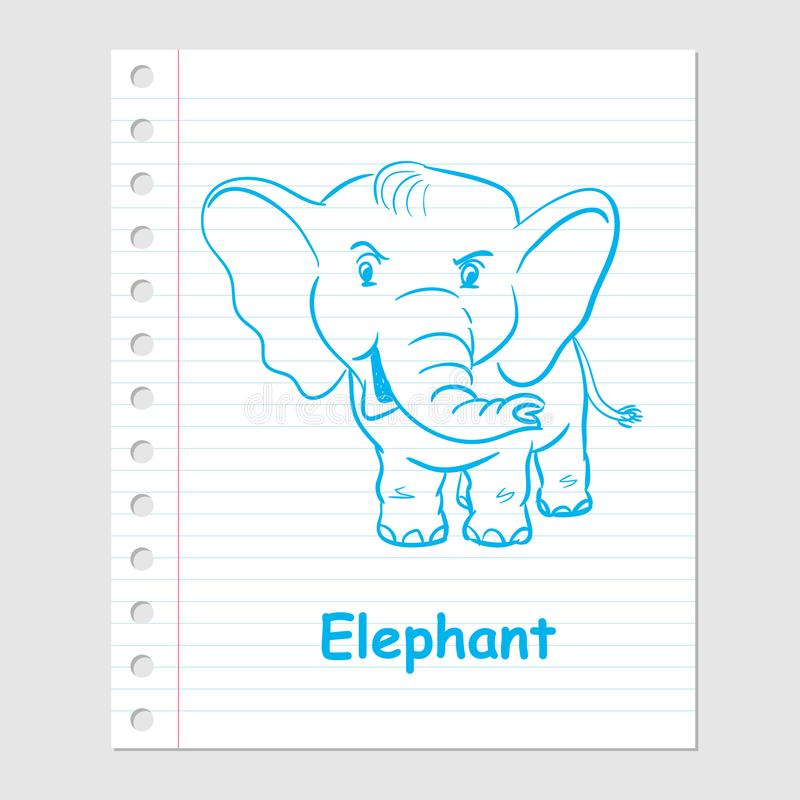 Illustration of Elephant Cartoon on paper sheet -Vector stock illustration