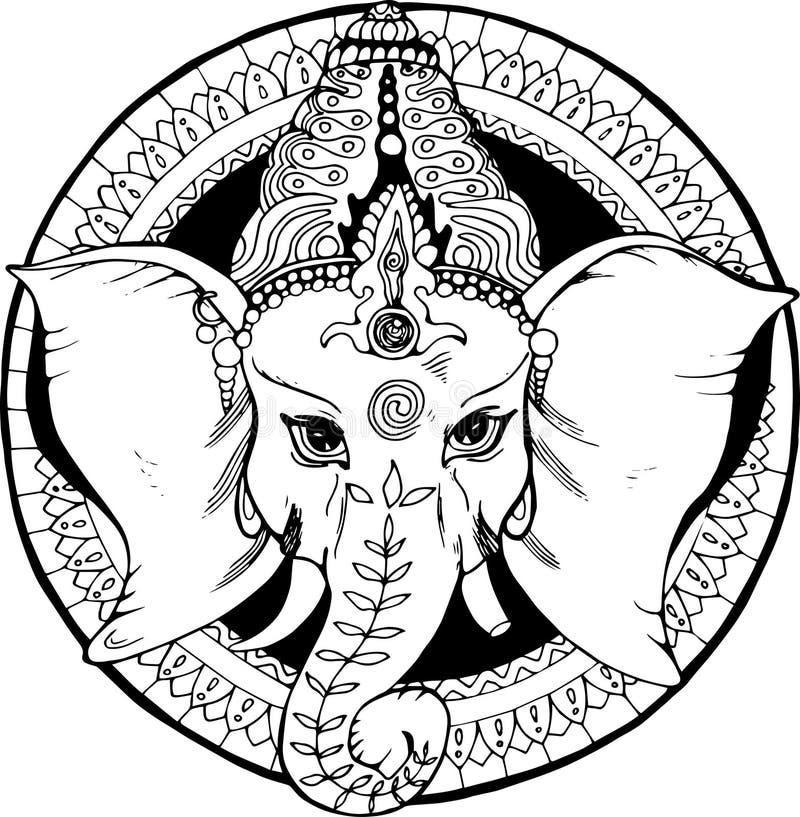 Illustration of an elephant ganesha, a Hindu god. Black and white drawing vector illustration