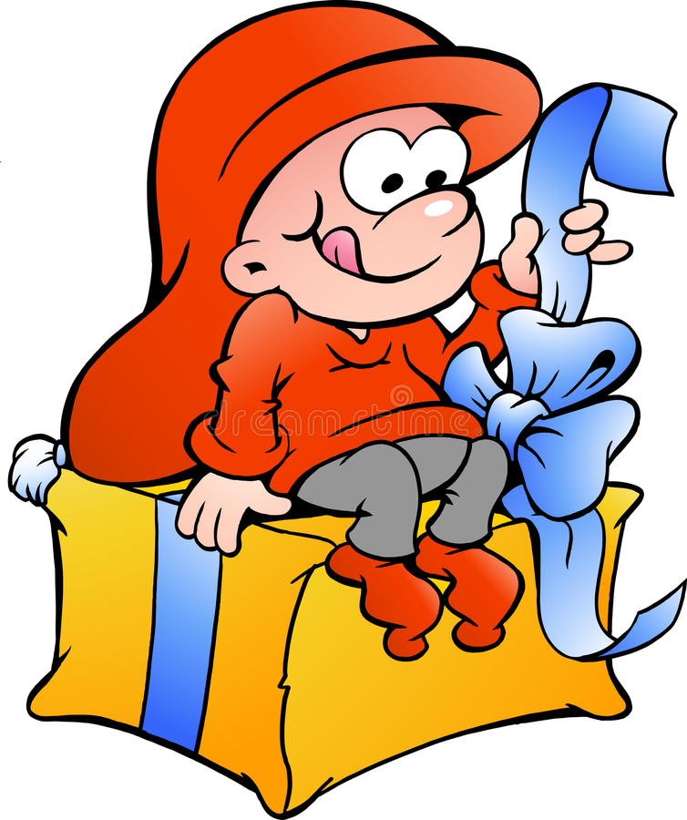 Illustration of elf elf sitting on a gift