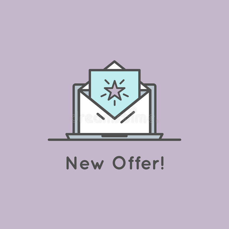 Download Illustration Of Email With Offer And Present Bonus Stock Illustration - Image: 83711651