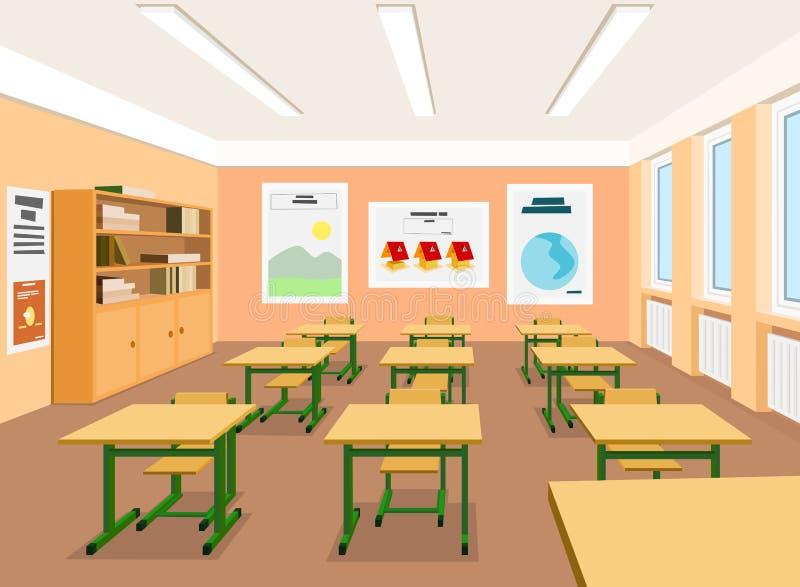 Illustration of an empty classroom stock illustration