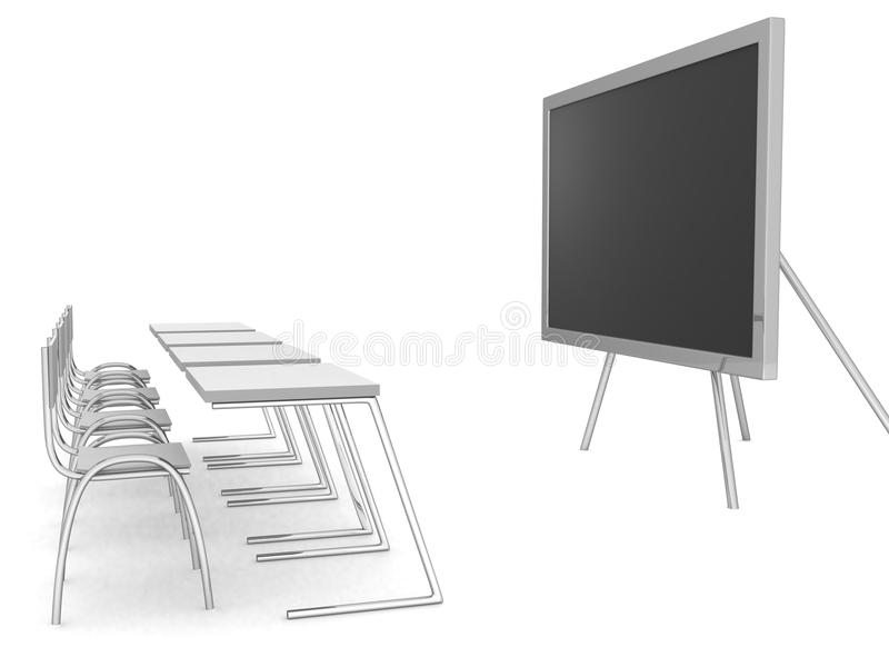 Illustration of an empty classroom. Concept of education vector illustration