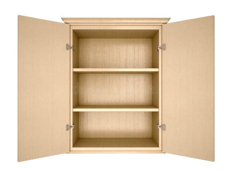 Illustration of empty cupboard. 3d illustration of empty cupboard royalty free illustration