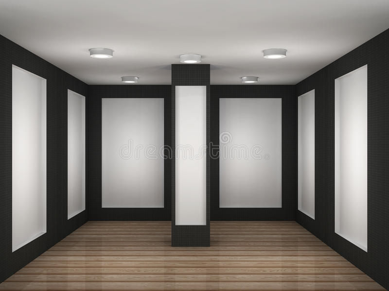 Illustration of a empty gallery room with frames stock illustration