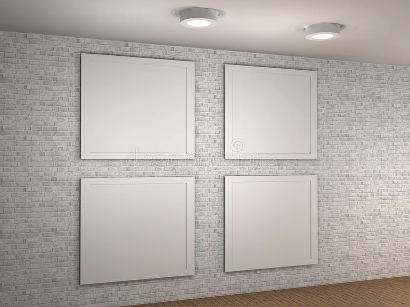 Download Illustration Of A Empty Museum Wall With 4 Frames Stock Photos - Image: 24822823