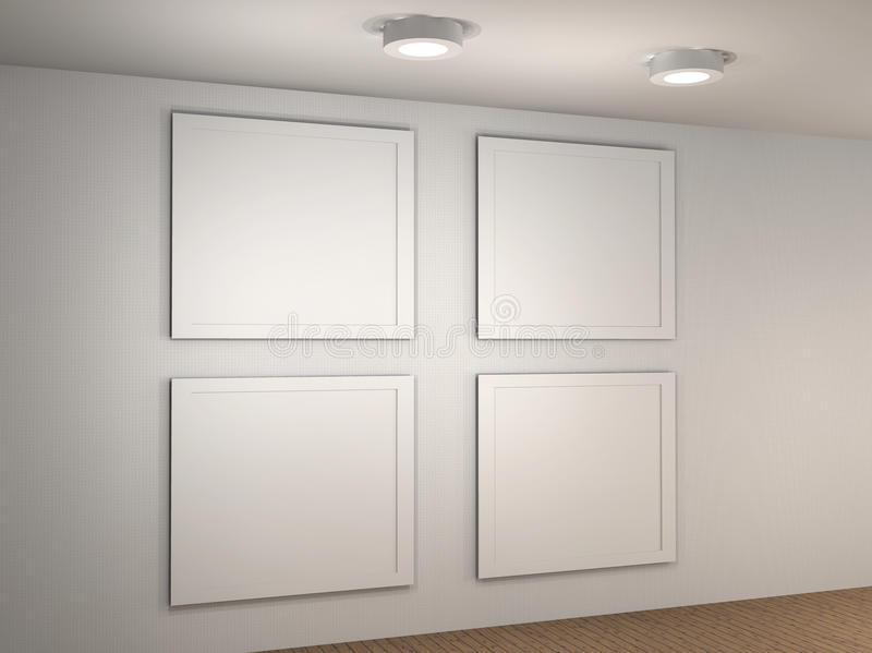 Download Illustration Of A Empty Museum Wall With 4 Frames Royalty Free Stock Photography - Image: 24822837