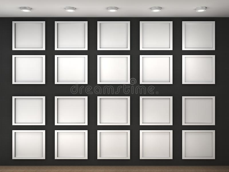 Download Illustration Of A Empty Museum Wall With Frames Royalty Free Stock Photography - Image: 24823047