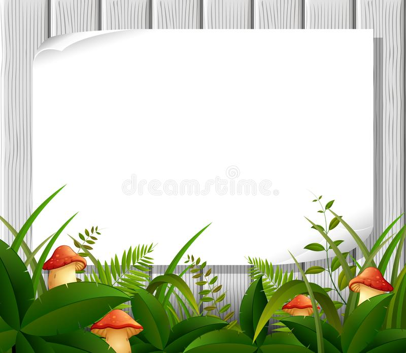 Empty paper blank on wooden signboard in the garden. Illustration of Empty paper blank on wooden signboard in the garden stock illustration