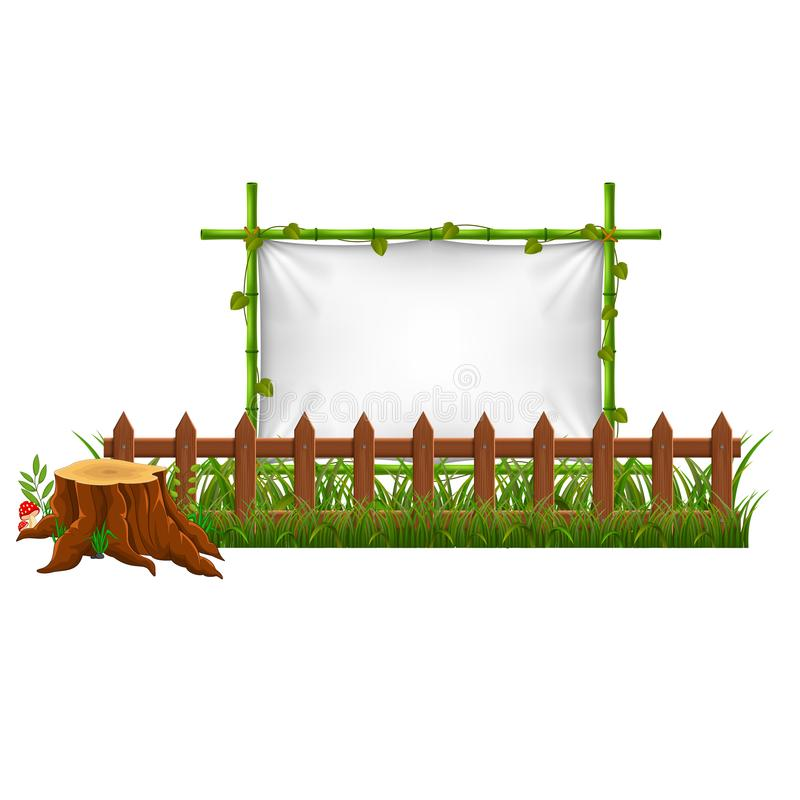 Empty paper blank on wooden signboard in the garden. Illustration of Empty paper blank on wooden signboard in the garden vector illustration