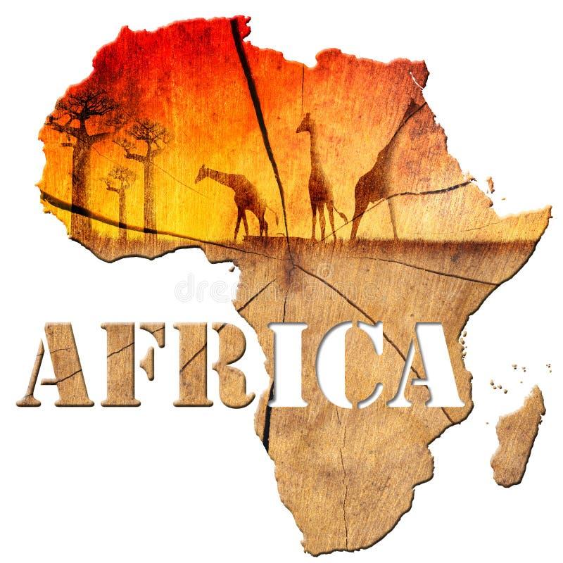 Illustration en bois de carte de l'Afrique illustration de vecteur