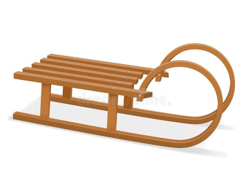 Illustration en bois de vecteur d'actions du traîneau des enfants illustration de vecteur