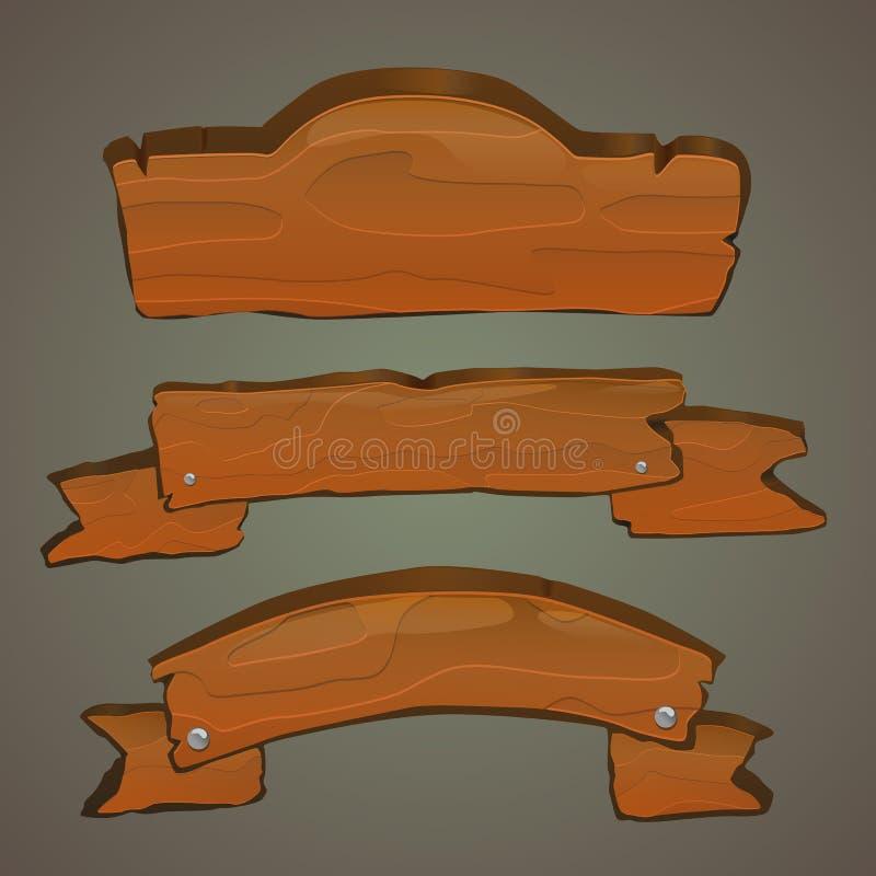Illustration en bois de vecteur d'ensemble de signes illustration stock