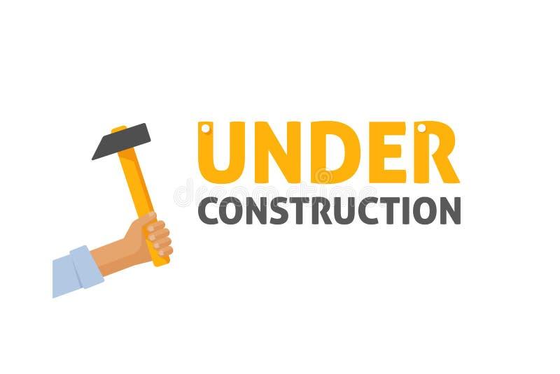 Illustration en construction de vecteur de signe, page de site Web d'entretien illustration stock