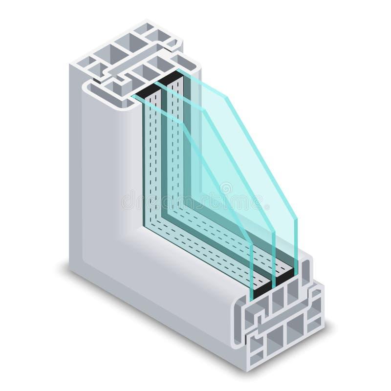Illustration en coupe de vecteur de fenêtre de rendement optimum illustration stock