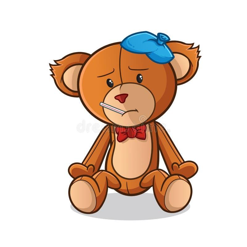 Illustration en difficulté d'art de bande dessinée de vecteur de mascotte d'ours de nounours illustration de vecteur