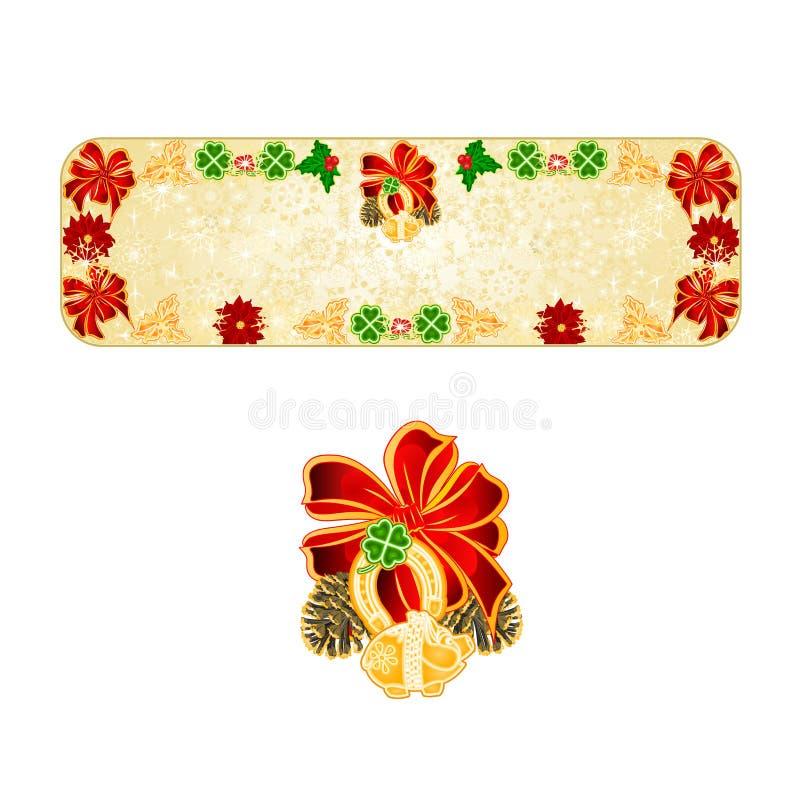 Illustration en fer à cheval de vecteur de vintage de porc des symboles quatre de flocons de neige de décoration de Noël de banni illustration de vecteur