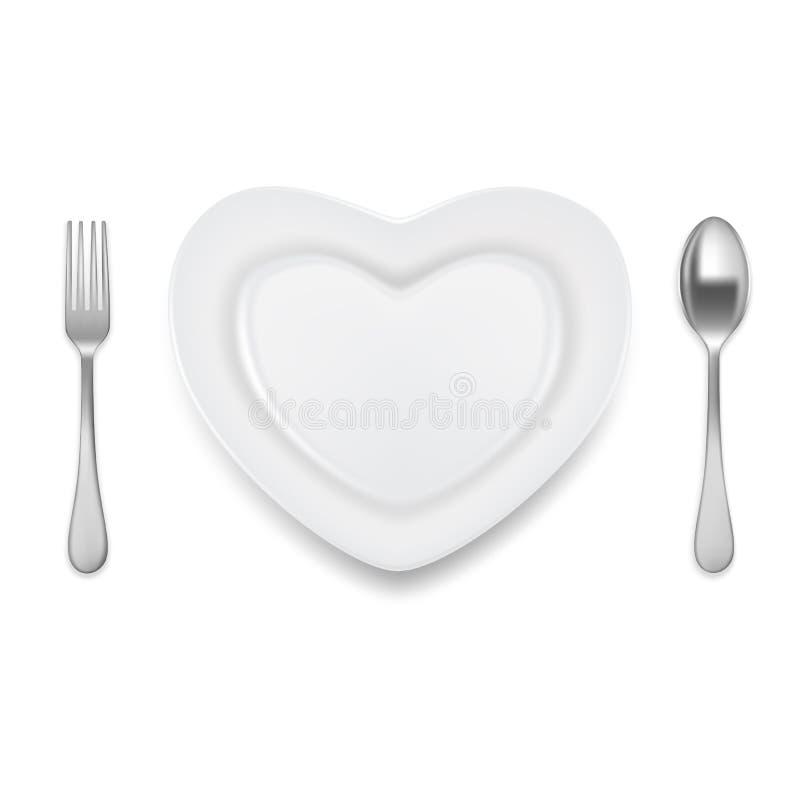 Illustration en forme de coeur de vecteur de fourchette de cuillère de plat illustration de vecteur