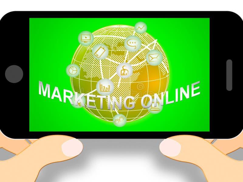 Illustration en ligne de commercialisation des promotions 3d du marché d'expositions illustration de vecteur