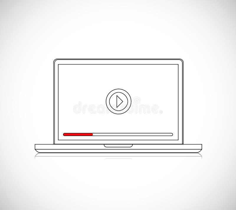 illustration en ligne de joueur d'ordinateur portable illustration libre de droits