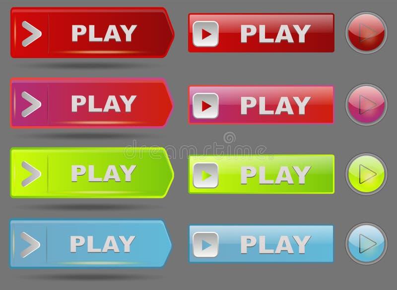 Illustration en ligne de vecteur de clic de marque de joueur d'élément de site Web d'Internet de media de jeu de bouton d'interfa illustration libre de droits